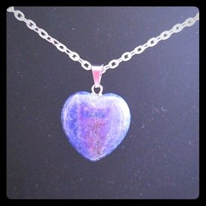 Natural Stone Heart Shape Pendant w/ Silver Chain